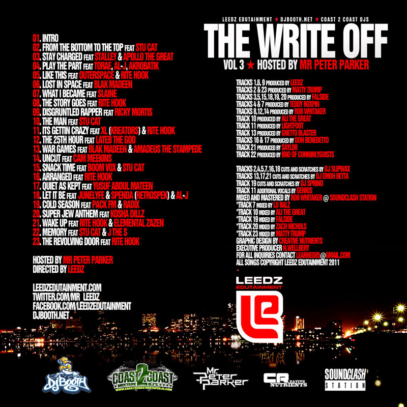 "Leedz Edutainment ""The Write Off Vol. 3"" Mixtape (hosted by Peter Parker)"