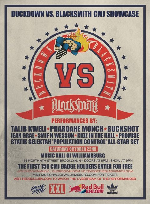 Duck Down Vs Blacksmith CMJ Showcase Saturday, October 22nd