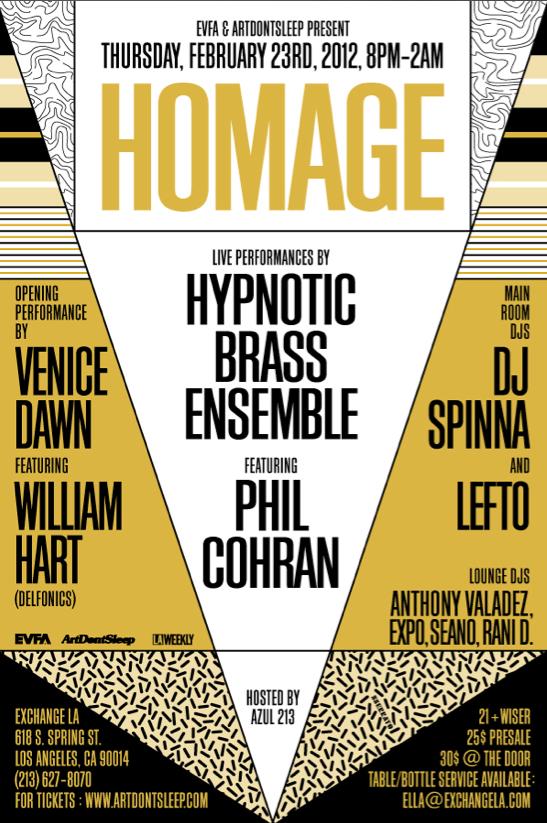 "EVFA & ARTDONTSLEEP PRESENT: ""HOMAGE"" 2/23/2012 Live Performances by: Hyonotic Brass Ensemble ft. Phil Cohran @ Exchange LA  | Hypnotic Brass Ensemble ""Spottie"" **mp3**"