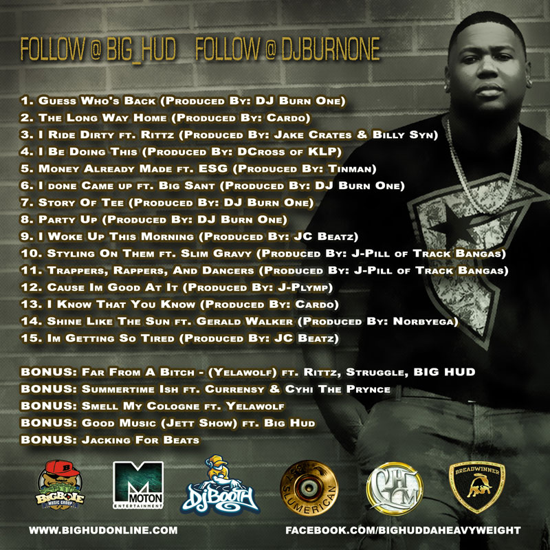 """Big Hud """"The Long Way Home"""" (Hosted by DJ Burn One) (w/ Rittz, Yelawolf, Gerald Walker + More)"""
