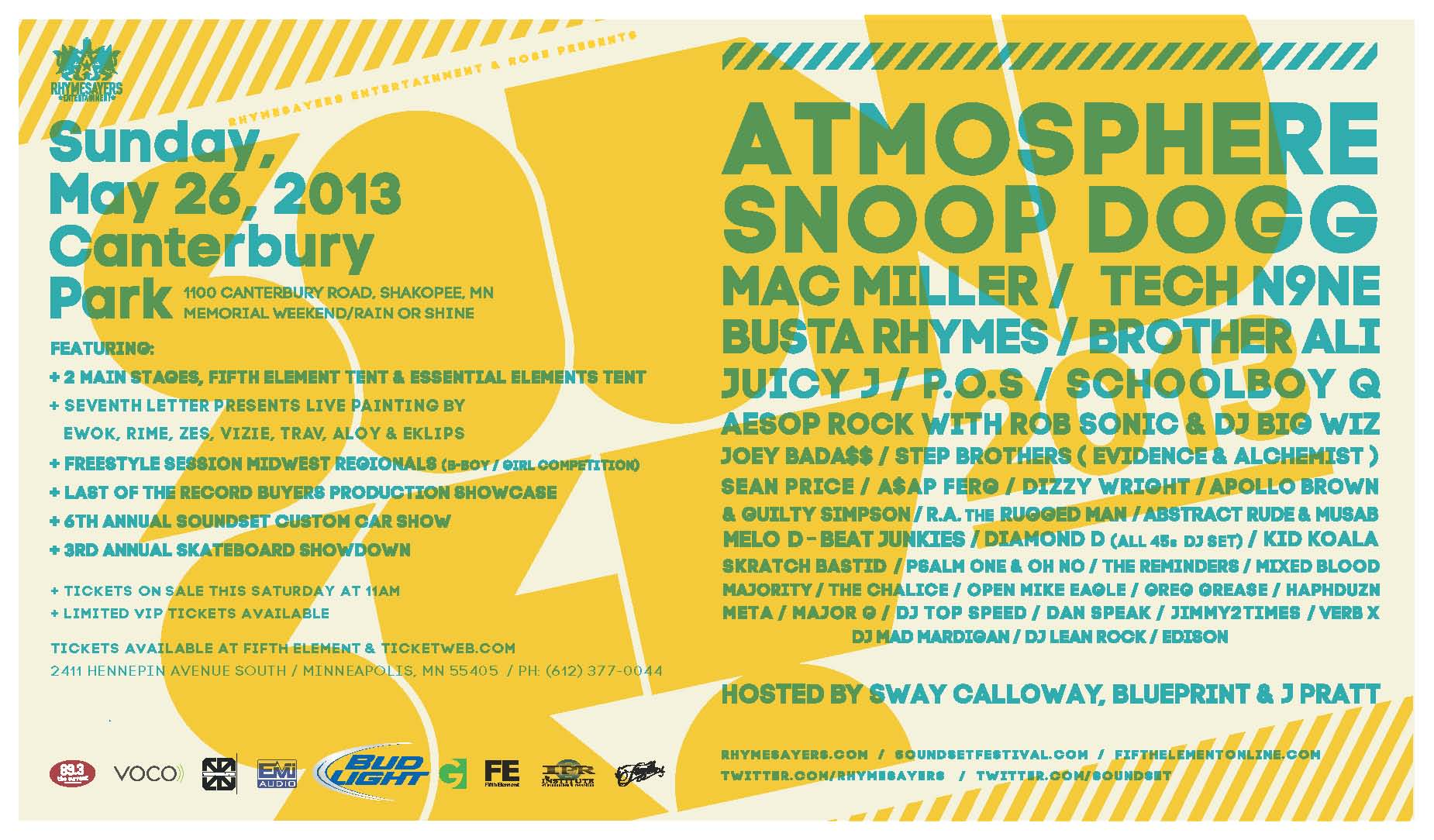 Soundset 2013 Lineup (includes Atmosphere, Snoop Dogg, Mac Miller, Busta Rhymes, Tech N9ne, and more)
