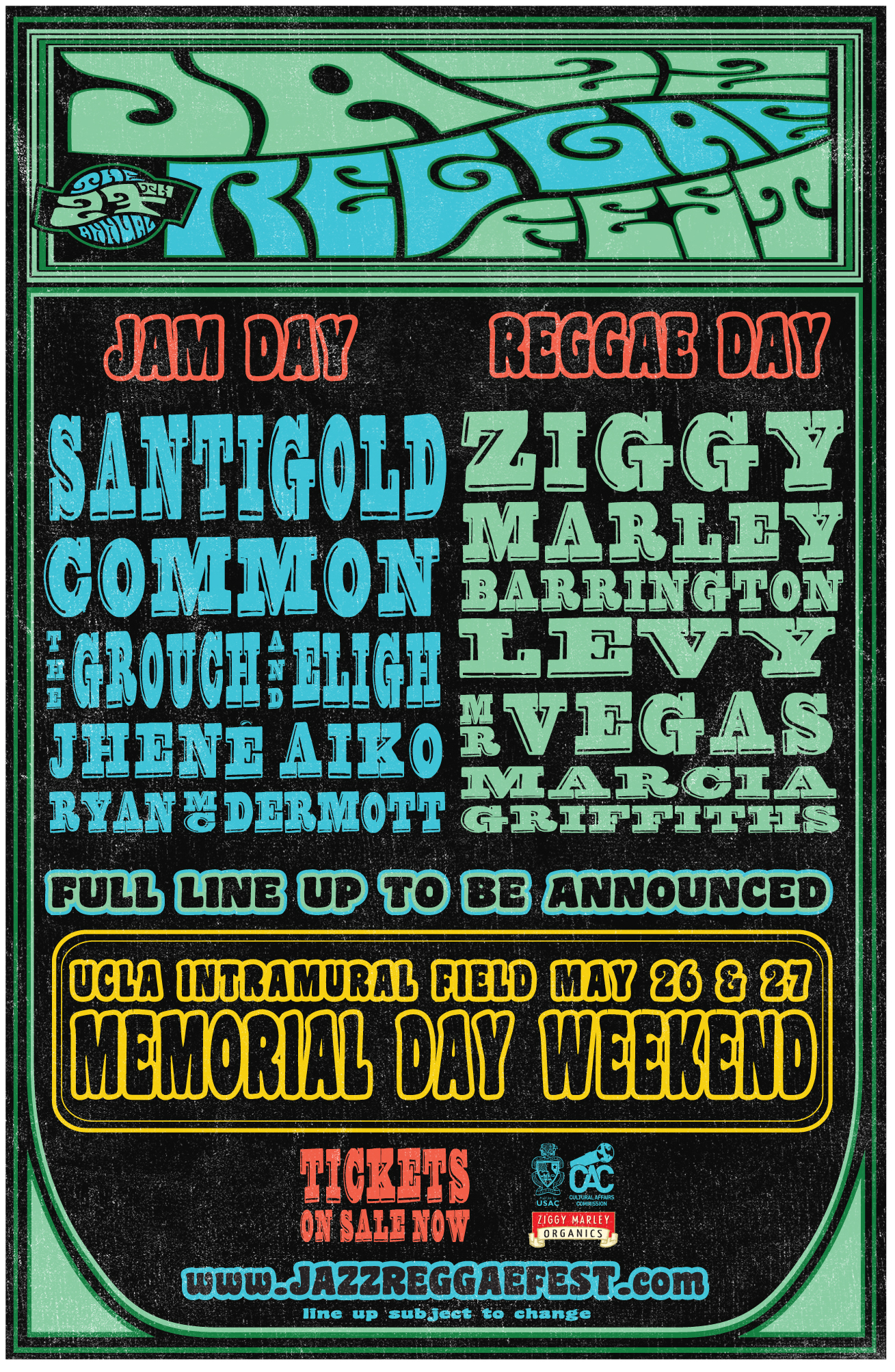 The 27th Annual JazzReggae Festival @ UCLA 2013! Memorial Day Weekend May 26 & 27